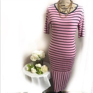 LulaRoe striped shoe sleeve dress